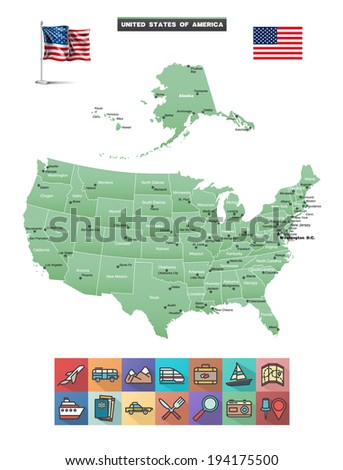 Vector Map of the United States.  Flag and traveling icons eps10 - stock vector