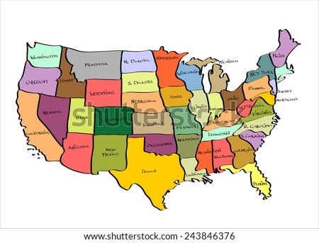 Vector Map United States Hand Drawn Stock Vector - Sketch drawing us with states map