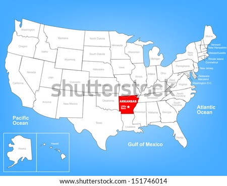 Vector Map of the United States Highlighting the State of Arkansas; Illustrator 8 - stock vector