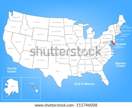 Vector Map of the United States Highlighting the State of Delaware; Illustrator 8 - stock vector