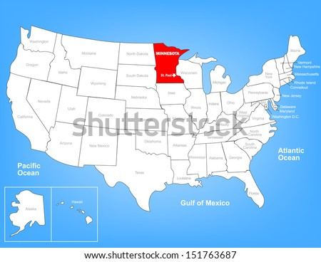 Vector Map of the United States Highlighting the State of Minnesota; Illustrator 8