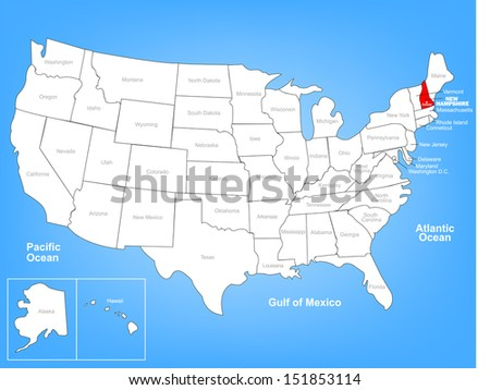 Vector Map of the United States Highlighting the State of New Hampshire; Illustrator 8 - stock vector