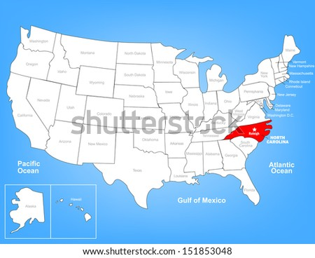 Vector Map of the United States Highlighting the State of North Carolina; Illustrator 8 - stock vector