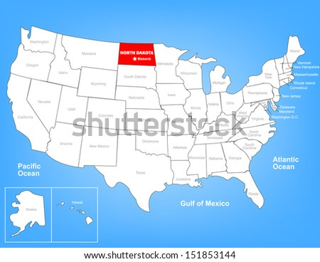 Vector Map of the United States Highlighting the State of North Dakota; Illustrator 8
