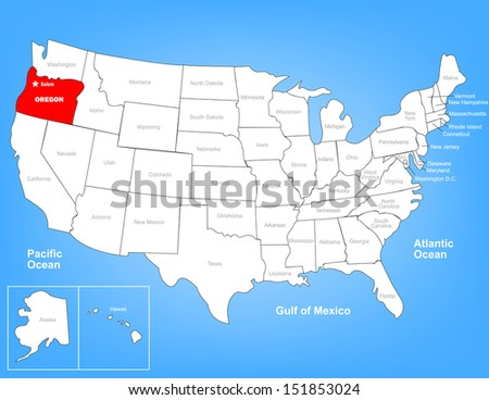 Vector Map of the United States Highlighting the State of Oregon; Illustrator 8 - stock vector