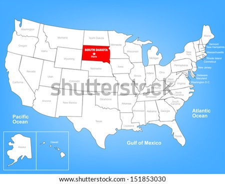 Vector Map of the United States Highlighting the State of South Dakota; Illustrator 8