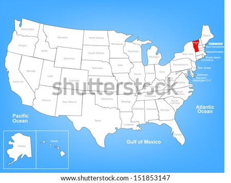 Vector Map of the United States Highlighting the State of Vermont; Illustrator 8