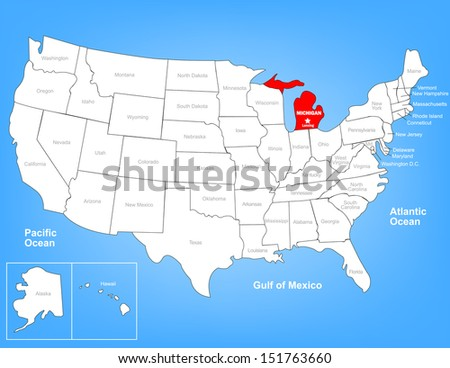 Vector Map of the United States Highlighting the State of Wisconsin; Illustrator 8 - stock vector