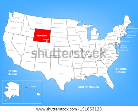 Vector Map of the United States Highlighting the State of Wyoming; Illustrator 8