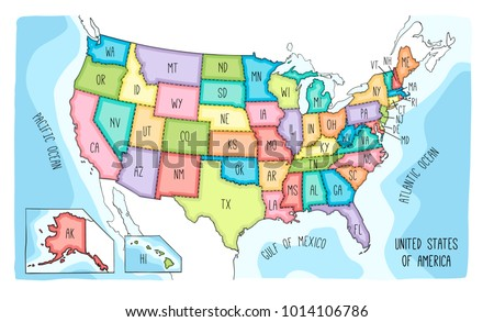 vector map of the united states of america colorful sketch ilration with all 50 states