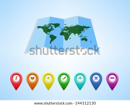 Vector map of the world and map navigation icons and pin on white background - stock vector