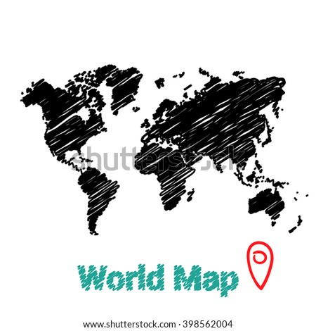 Vector map of the world drawing in black marker on a white background. Sketch World Map for infographics, brochures and presentations. - stock vector