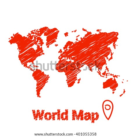 Vector map of the world drawing in red marker on a white background. Sketch World Map for infographics, brochures and presentations. - stock vector