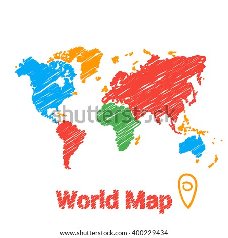 Vector map of the world drawn colored markers on a white background. Sketch World Map for infographics, brochures and presentations. - stock vector