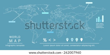 Vector map of the world. the template of infographics. - stock vector