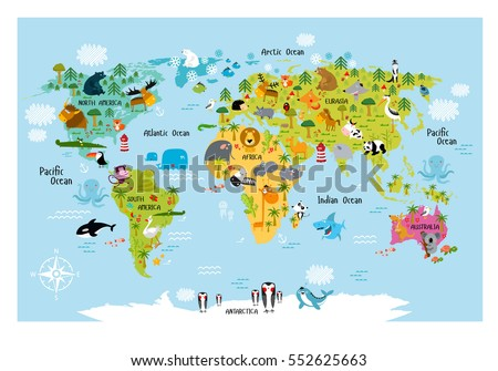 Vector map world cartoon animals kids vectores en stock 552625663 vector map of the world with cartoon animals for kids europe asia south gumiabroncs Gallery