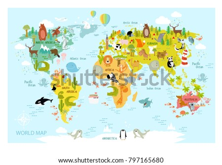 Vector map world cartoon animals kids vectores en stock 797165680 vector map of the world with cartoon animals for kids europe asia south gumiabroncs Image collections
