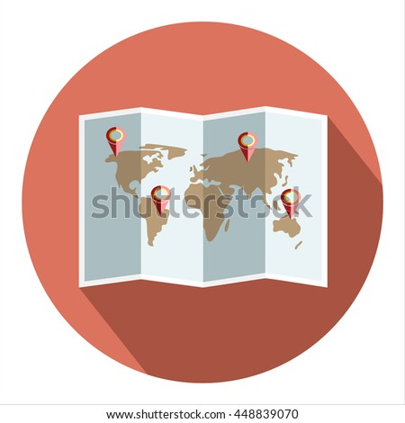 Vector map of the world with Pin Pointer - stock vector