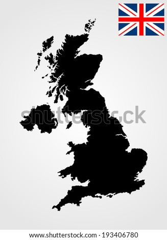 Vector map of United Kingdom and vector flag of United Kingdom. Great Britain black vector map and flag isolated on white background.  - stock vector