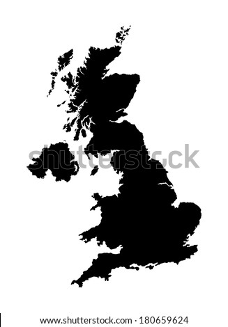 Vector map of United Kingdom.  Great Britain vector map isolated on white background. - stock vector