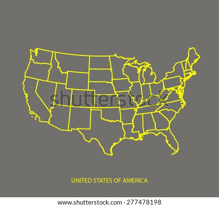 Vector map of United States in a grey background, USA map outlines in black and white patterns - stock vector