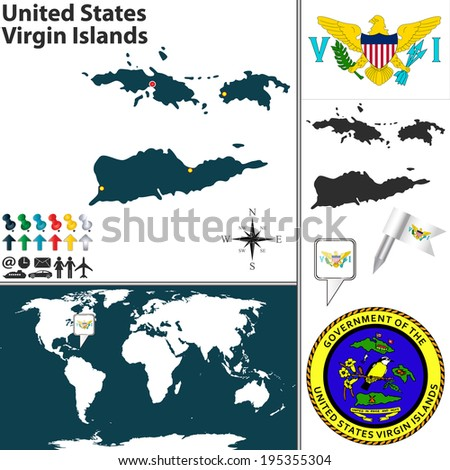 Vector map of United States Virgin Islands with  coat of arms and location on world map - stock vector