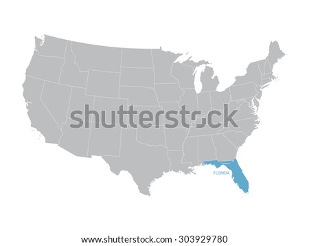vector map of United States with indication of Florida - stock vector
