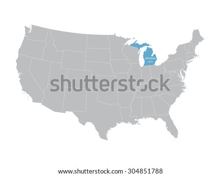 Grey Vector Map United States State Stock Vector - Michigan map united states
