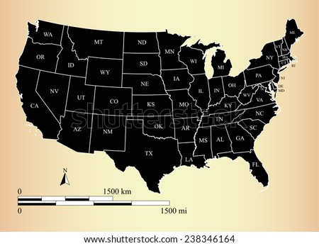 Vector map of United States with states names and mileage and kilometer scales, USA map outlines with boundaries or polygons of states - stock vector