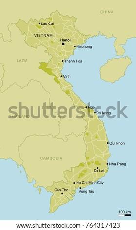 Vector Map Vietnam Important Cities Roads Stock Vector 764317423 ...