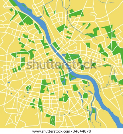 Vector map of Warsaw.