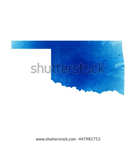 Vector map Oklahoma. Isolated vector Illustration. Watercolor effect. EPS 10 Illustration.