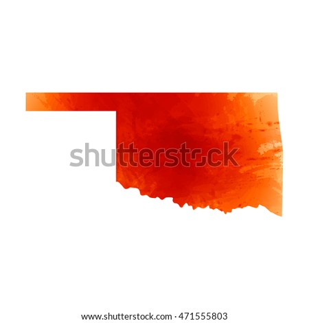 Vector map Oklahoma. Watercolor orange effect. Illustration 10 EPS.