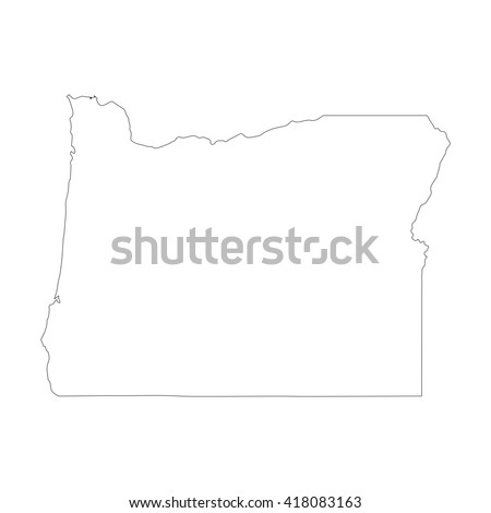 Vector Map Oregon Outline Map Isolated Stock Vector 418083163