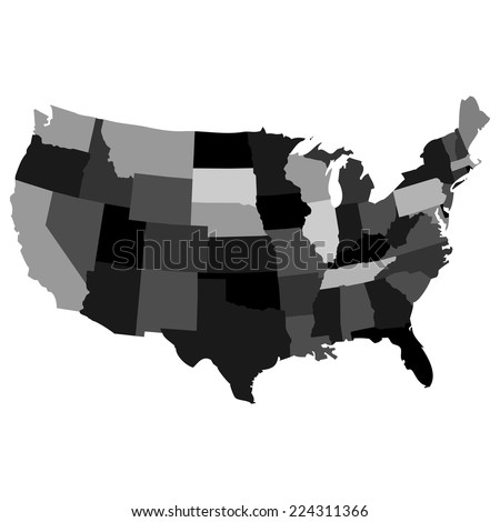 Vector Map Over Usa All States Stock Vector 224311366 Shutterstock