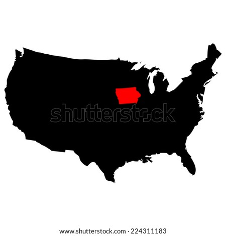 Vector map over USA with Iowa