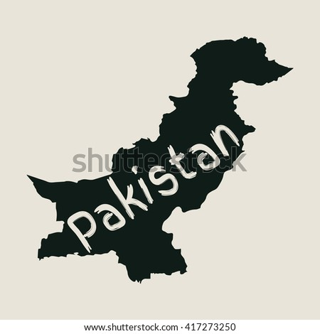 Vector map Pakistan. Gray Isolated vector Illustration. On Beige background. Typography design. EPS 8 Illustration. - stock vector