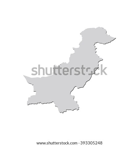 Vector map Pakistan. Isolated vector Illustration. Gray on White background. With shadow. EPS 10 Illustration. - stock vector
