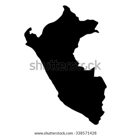 Vector map Peru. Isolated vector Illustration. Black on White background. EPS Illustration.