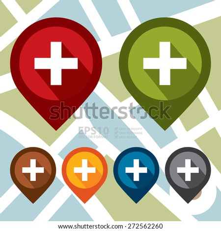 Vector : Map Pointer Icon With Cross, Hospital, First Aid Sign - stock vector