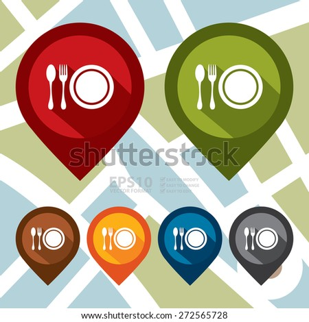 Vector : Map Pointer Icon With Restaurant, Bistro, Cafeteria or Food Center Sign - stock vector
