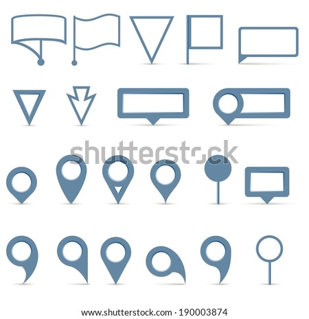 Vector map pointer icons set on white background