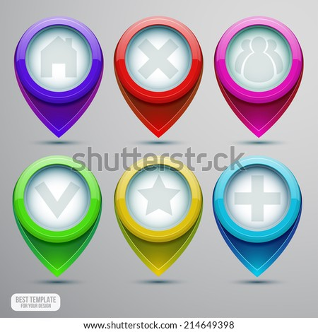 Vector Map pointers set with icon collection for infographic design - stock vector