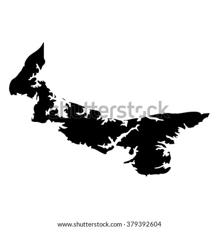 Vector map Prince Edward Island. Isolated vector Illustration. Black on White background. EPS Illustration.