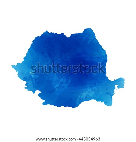 Vector map Romania. Isolated vector Illustration. Watercolor effect. EPS 10 Illustration.