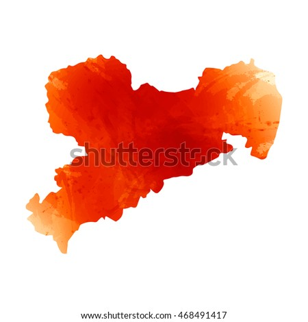 Vector map Sachsen. Isolated vector Illustration. Watercolor orange effect. EPS 10 Illustration.
