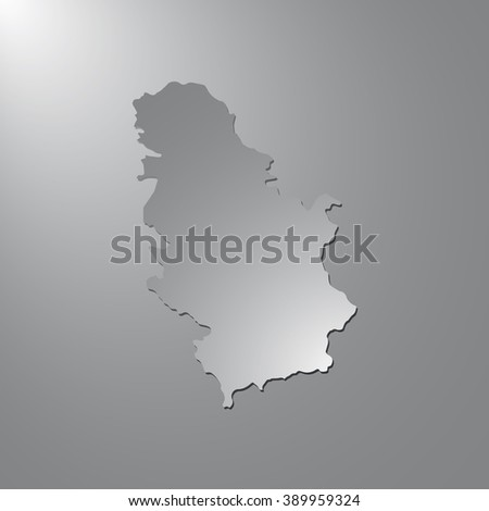 Vector map Serbia. Gray background with gradient. Isolated vector Illustration. Gray on Gradient background. With shadow. EPS Illustration. - stock vector