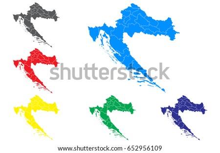 Vector Map Set Vector Croatia Maps Stock Vector 652956109 - Shutterstock