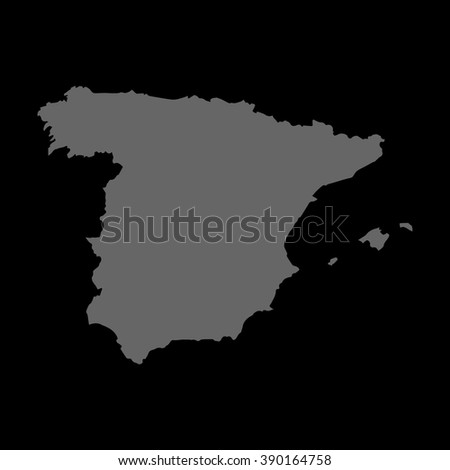 Vector map Spain. Gray on black background. EPS Illustration.