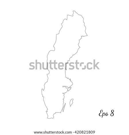 Vector Map Sweden Outline Map Isolated Stock Vector - Sweden map outline